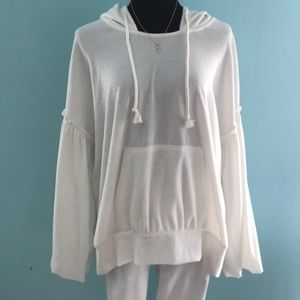 FREE PEOPLE Ivory Bell-Sleeved Hoodie